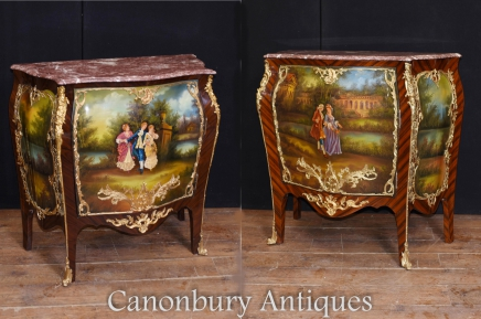 Pair Painted French Commodes Vernis Martin Cabinets