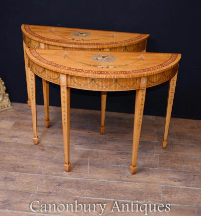 Pair Painted Half Round Console Tables - Adams Satinwood