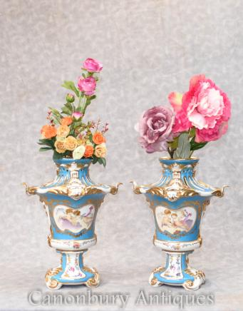Pair Paris Sevres Pot Pourri Urns Cherub Vases