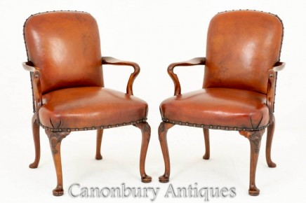 Pair Queen Anne Arm Chairs Leather Walnut