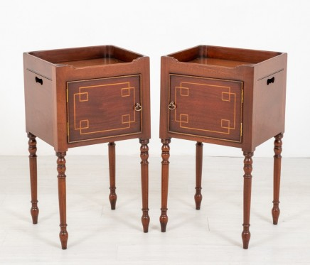 Pair Regency Bedside Chests Mahogany Nightstand Cabinets