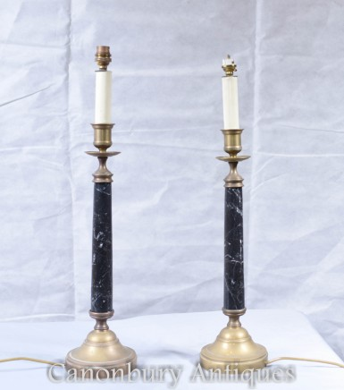 Pair Regency Column Table Lamps Lights