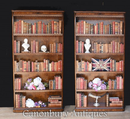 Pair Regency Open Bookcase - Walnut