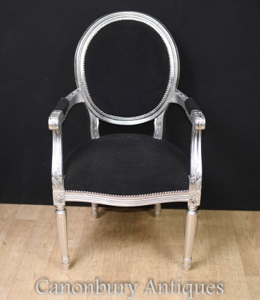 Pair Regency Silver Gilt Arm Chairs Accent Chair