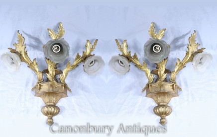 Pair Rococo Sconces - Gilt French Wall Lights Ormolu