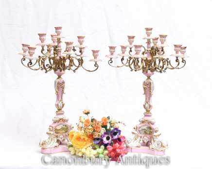 Pair Sevres Porcelain Candelabras - French Candles