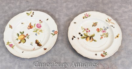 Pair Sevres Porcelain Plates - French China Floral Butterfly