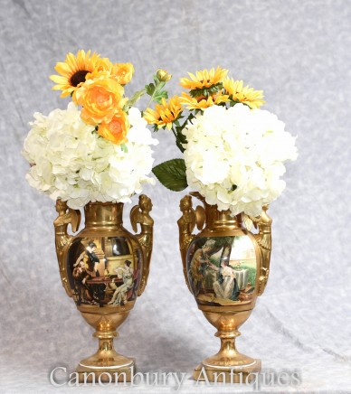 Pair Sevres Porcelain Vases - Gold Winged Maiden Urns