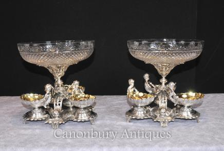 Pair Sheffield Silver Plate Cherub Bowls Dishes Centerpiece Crystal Glass