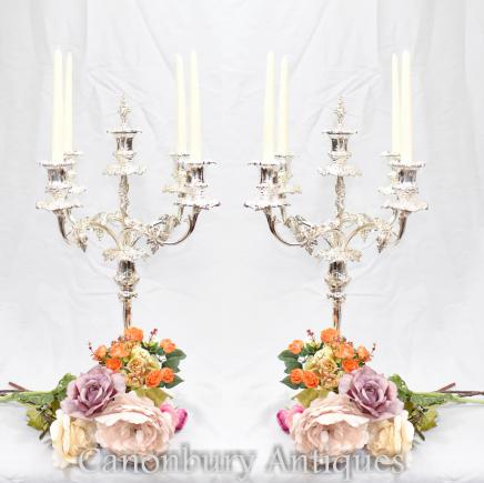 Pair Sheffield Silver Plate Grape Candelabras Candles