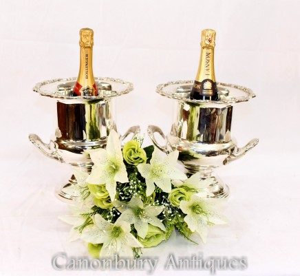 Pair Sheffield Silver Plate Ice Buckets - Champagne Wine Cooler