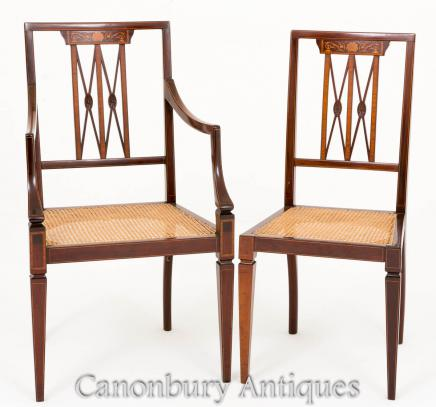 Pair Sheraton Desk Chairs in Mahogany 1890
