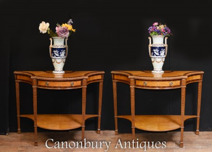 Pair Regency Console Tables - Sheraton Inlay Demi Lune