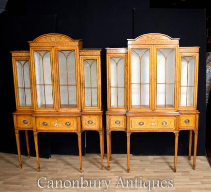 Pair Sheraton Satinwood Display Cabinets on Stands Bookcases
