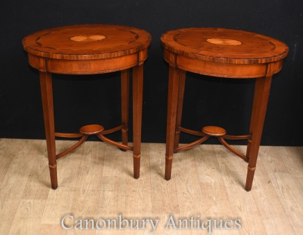 Pair Sheraton Side Tables - Mahogany Inlay Tabl