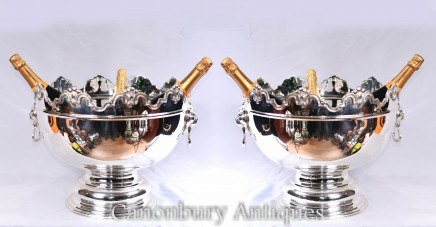 Pair Silver Plate Monteith Punch Bowls - Champagne Wine Coolers