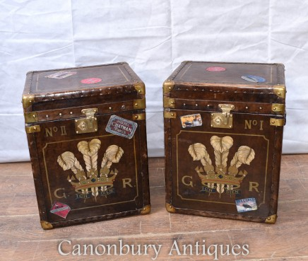Pair Steamer Trunk Luggage Cases - English Leather Prince of Wales