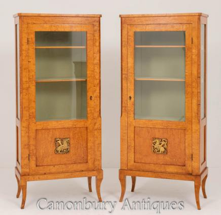 Pair Swedish Mazur Birch Display Cabinets Circa 1860