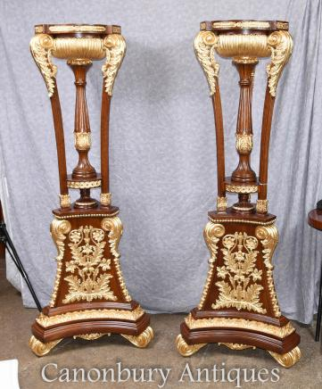 Pair Tall French Empire Gilt Tocheres Planter Stands