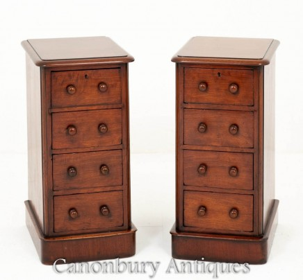 Pair Victorian Bedside Chests Nightstands 1860