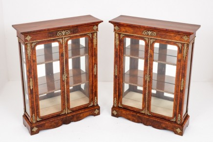 Pair Victorian Display Cabinets Antique Walnut 1860