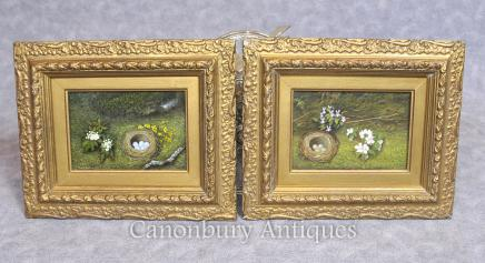 Pair Victorian Easter Egg Nest Spring Still Life Oil Paintings Floral
