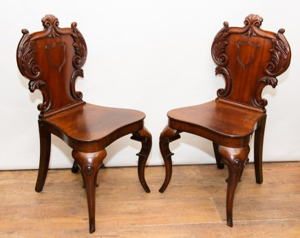 Pair Victorian Hall Chairs - Antique 1840 Carved Seats
