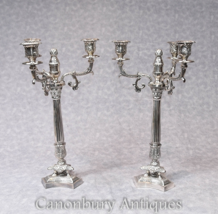 Silver Plate Candelabras - Pair Victorian Sheffield Candles Paul Storr