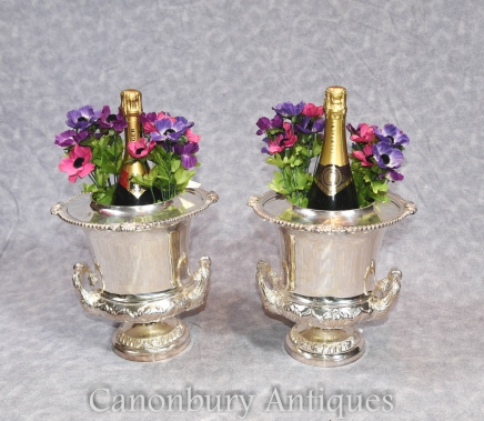 Pair Victorian Sheffield Silver Plate Champagne Wine Coolers Buckets Urns