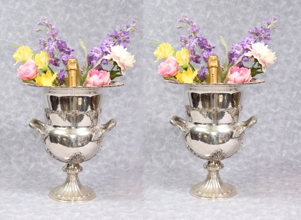 Pair Victorian Sheffield Silver Plate Wine Champagne Urns Cooler Campana