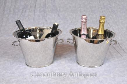 Pair Victorian Silver Plate Champagne Buckets Wine Urns Cooler