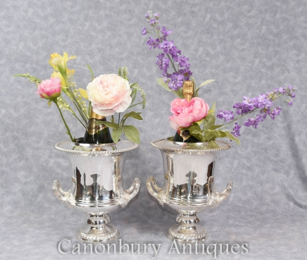 Pair Victorian Silver Plate Wine Champagne Buckets Campana Urn