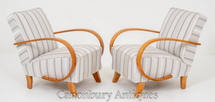 Pair Vintage Art Deco Club Chairs 1930