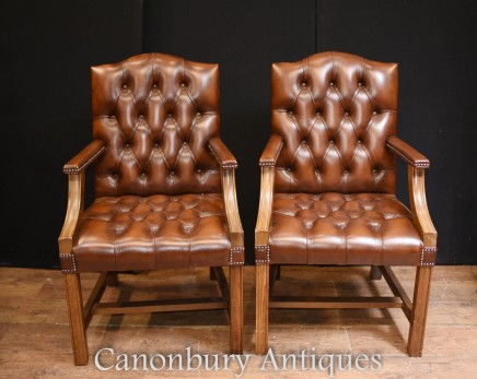 Pair Vintage Gainsborough Arm Chairs - Deep Button Leather