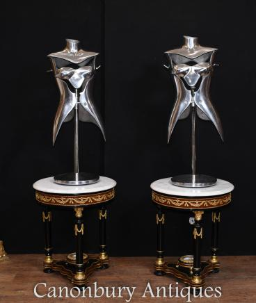 Pair Vintage Metal Mannequin Table Lamps Lights Architectural Salvage