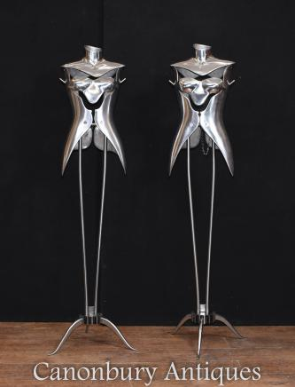 Pair Vintage Metal Mannequins Architectural Salvage