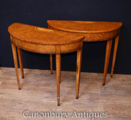 Pair Walnut Console Tables - Elegant Regency Hall Table Half Round