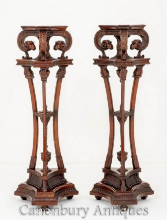 Pair William IV Torcheres - Antique Carved Stands