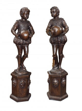 Pair Bronze Boys Fountains -  Elizabethan Page Boy Statues