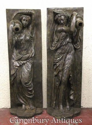 Pair XL Bronze Fountains - Italian Maiden Statues Garden Plaques