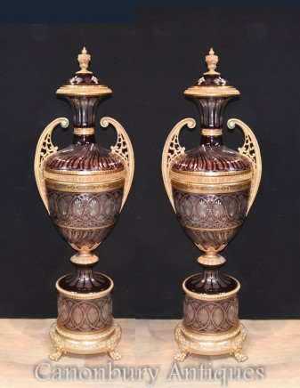 Pair XL French Glass Urns - Empire Architectural Vases
