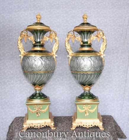 Pair XL French Louis XV Cut Glass Vases Urns Ormolu Mounts