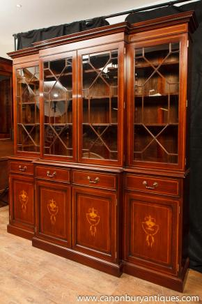 Breakfront Bookcase - Regency Mahogany  Sheraton Inlay Bookcases