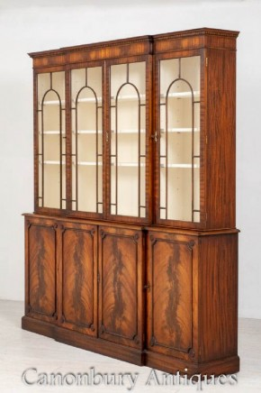 Regency Breakfront Bookcase - Maogany 4 Door Antique