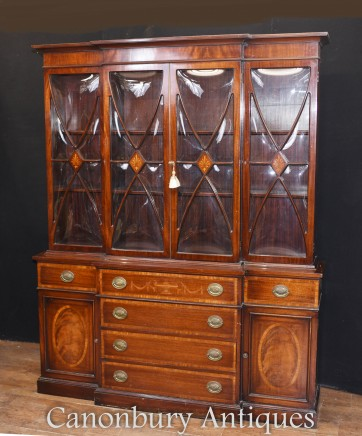 Regency Breakfront Bookcase Secretaire Desk in Mahogany