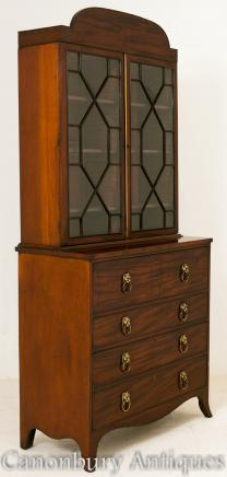 Regency Mahogany Secretaire Bookcase Desk Cabinet 1800