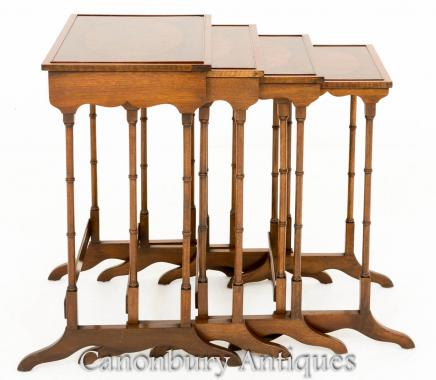 Regency Nest Tables - Set 4 Maogany Side Table
