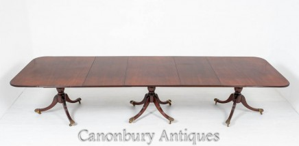 Regency Pedestal Dining Table - Antique Extending Mahogany