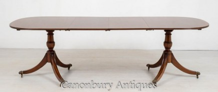 Regency Pedestal Dining Table - Mahogany Extending