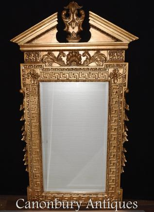 Regency Pier Mirror Classical Broken Arch Pediment